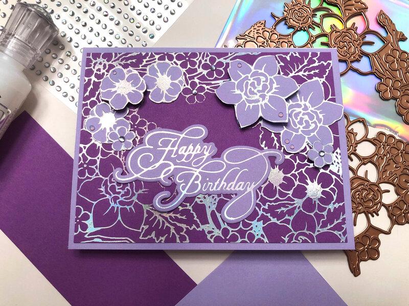 Foil Flowers Birthday Card