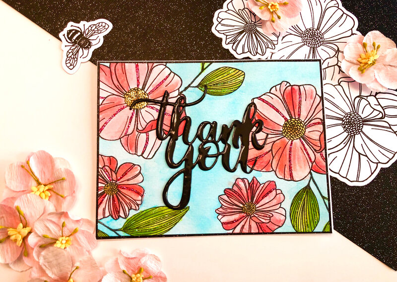 Watercolor Floral Thank You Card