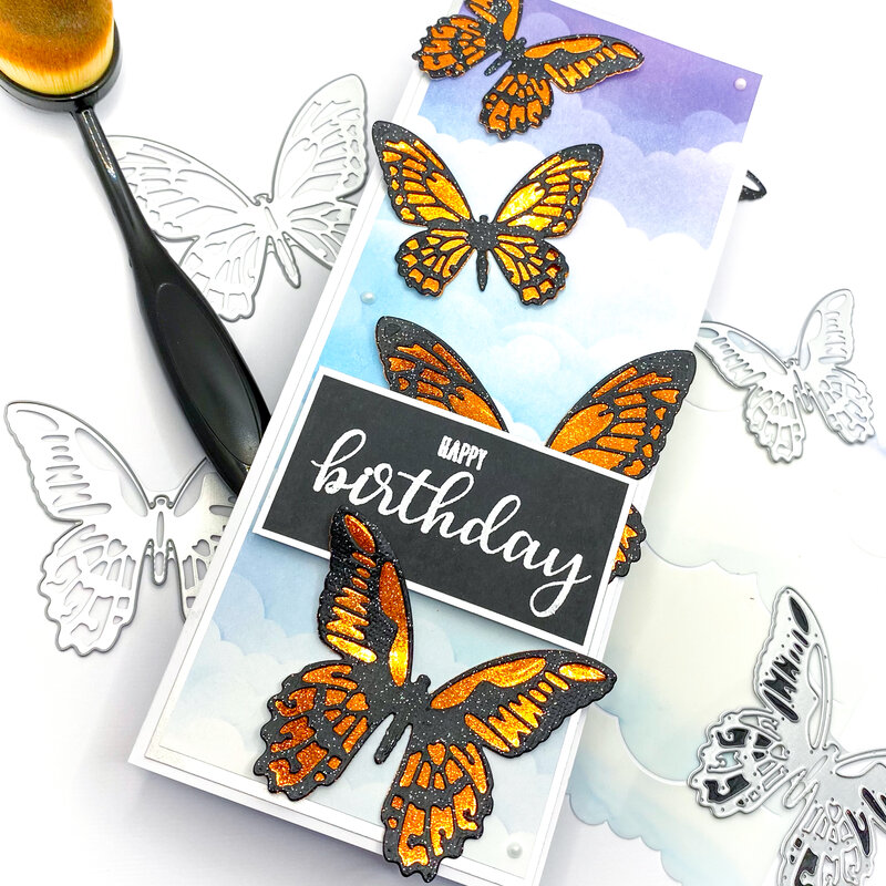Slimline Butterfly Birthday Card