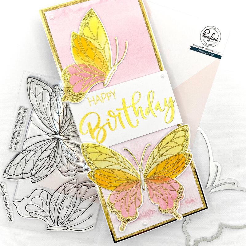 Pinkfrink Butterfly Birthday Card