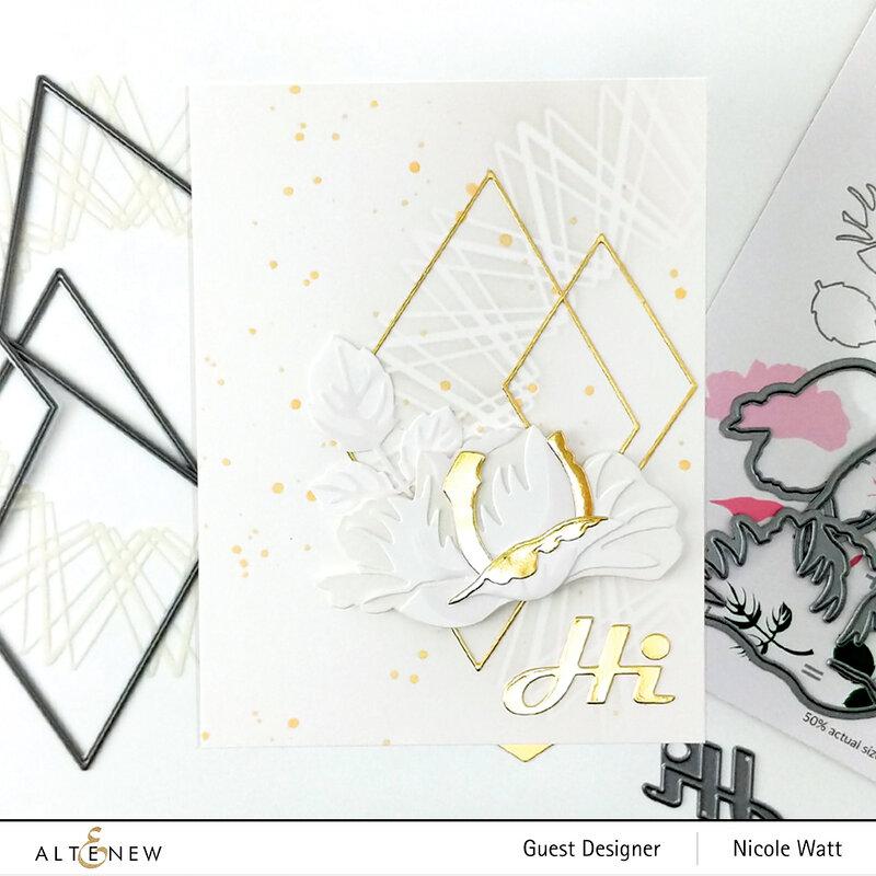 Elegant rose and diamond card