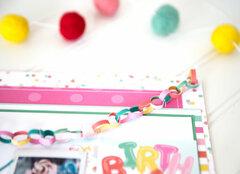 DIY Bitty Paper Chain birthday layout