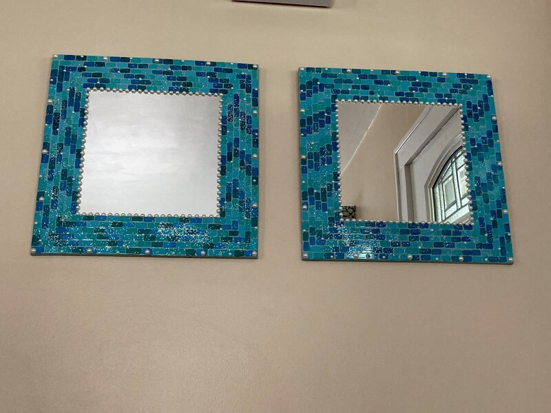 Faux mosaic tile mirrors