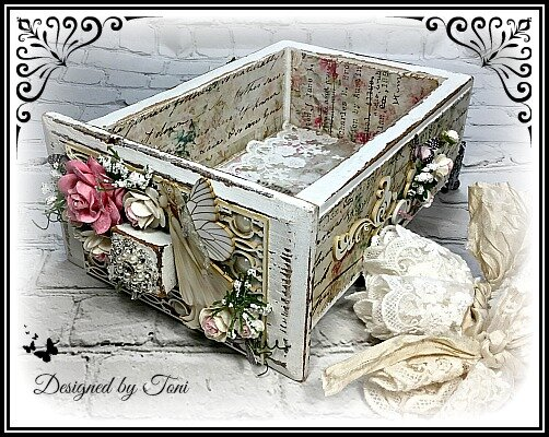 Altered Sewing Machine Drawer to hold laces *Reneabouquets Design Team Project