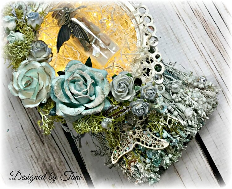 Altered Paintbrush with Lighted Shadow Box *Reneabouquets