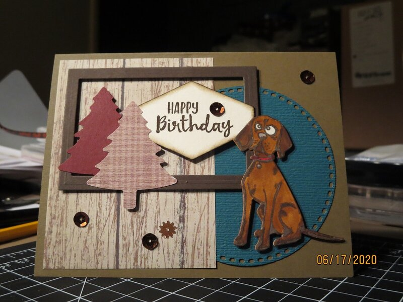Masculine Dog Lovers Birthday Card with Scraps and Frame