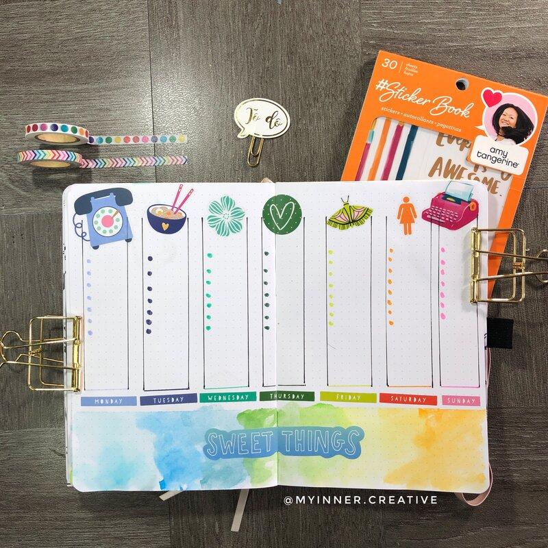 Simple Rainbow Bullet Journal Spread