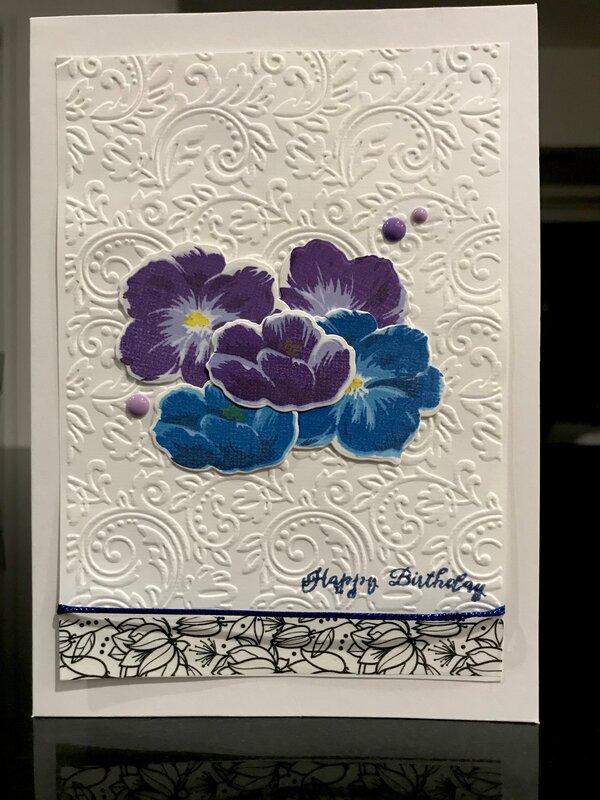 Blue and purple birthday card