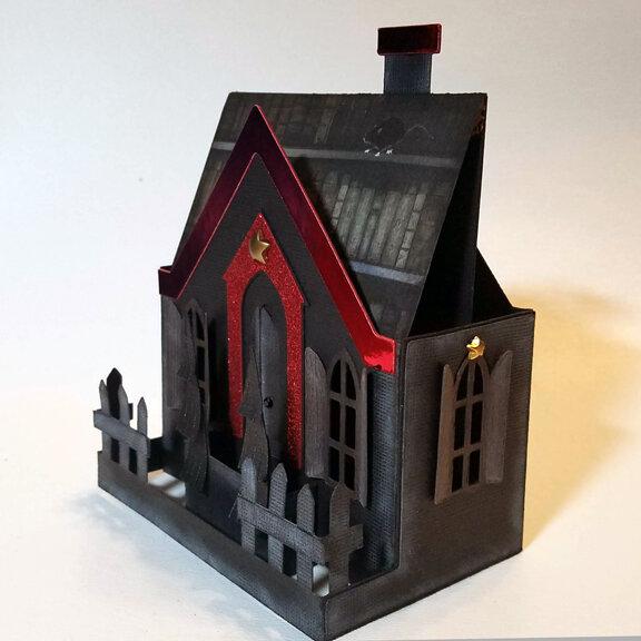 Putz-style Haunted House Box Card