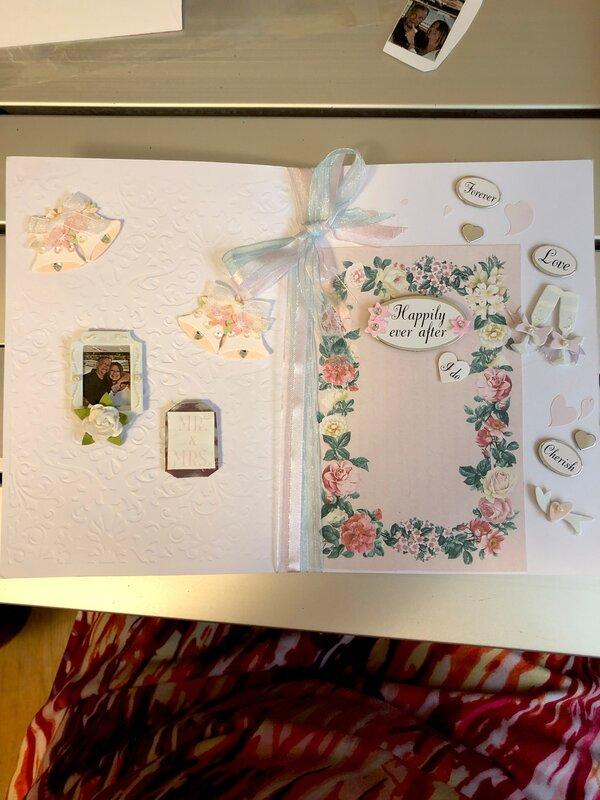 Interior of wedding card.