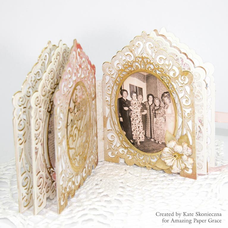Mini Album - Grand Crested Tower Etched Dies 3D Vignette