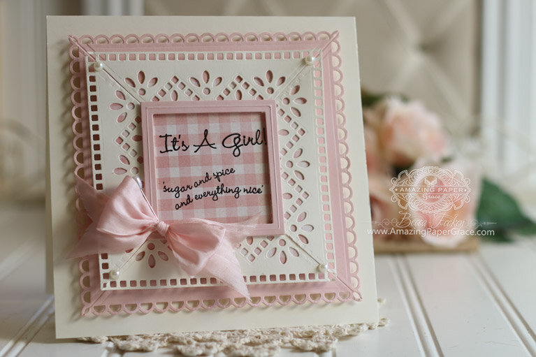It's a girl eyelet frame card inspiration by Becca Feeken