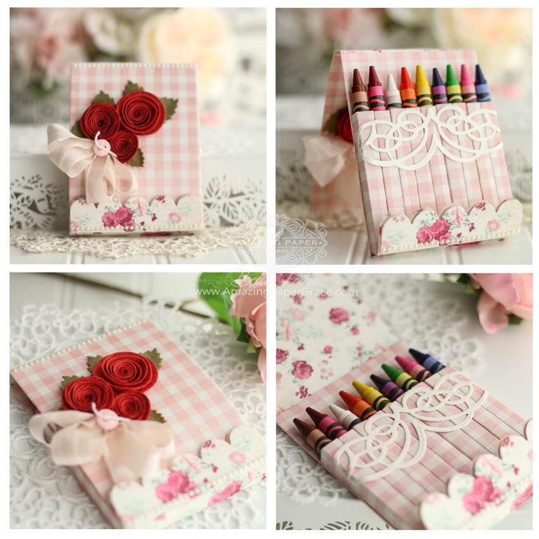 Pink Adorned Crayon Box