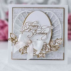 Birthday Card in White and Gold