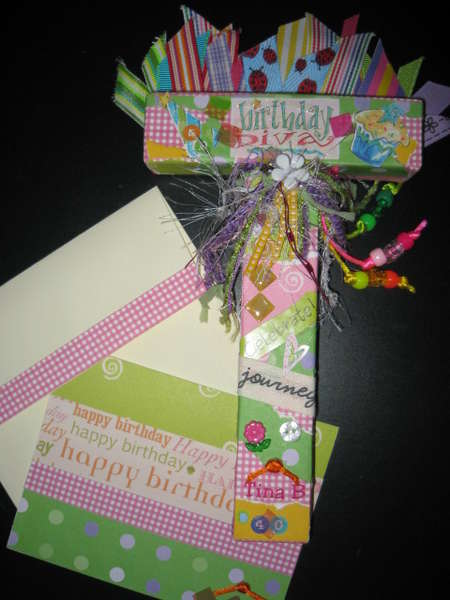 Altered Letter T and coordinating birthday card