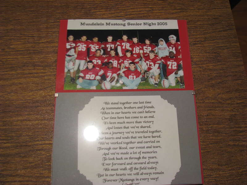 Senior Night Football Plaque 2005