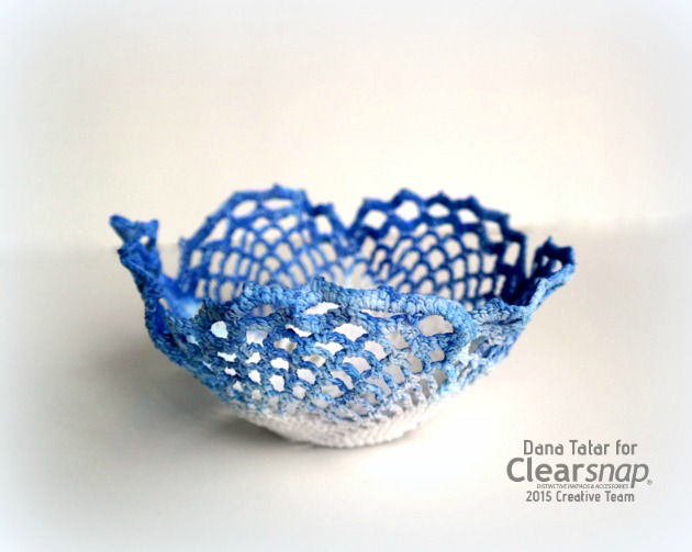 DIY Blueberry Lace Doily Bowl - Clearsnap