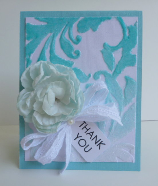 Flocked Thank You Card - Couture Creations