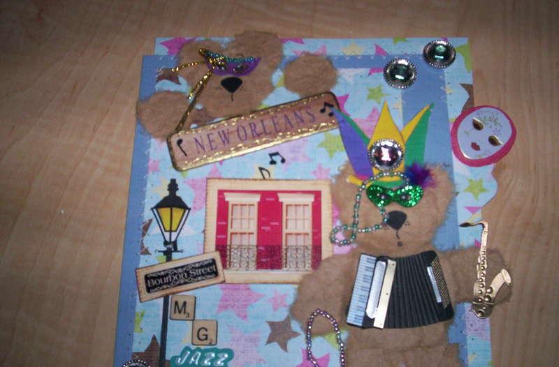 Mardi Gras Tear Bear paper piecing