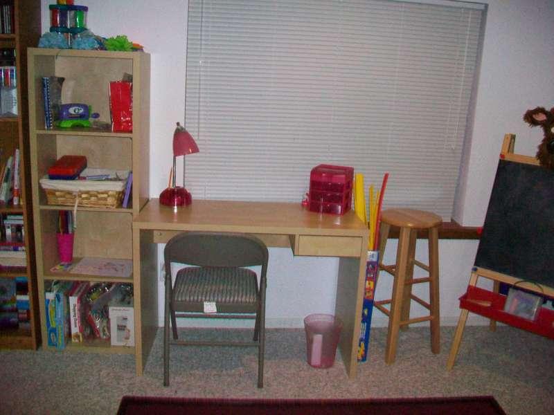 B's desk and shelf
