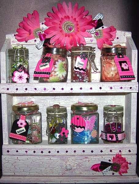 Pink flower spice jar box