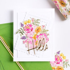 Painted Peony Hello Card