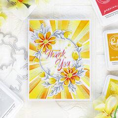 Daisy Wreath Thank you card - Pinkfresh Studio