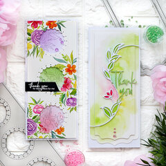 Slimline Thank you cards - Pinkfresh Studio