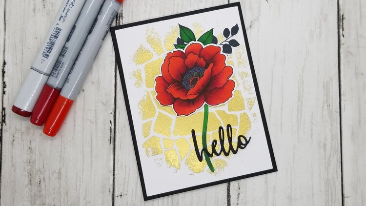 Bold Red and Distressed Heat Embossing