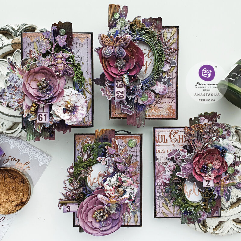 """MIXED MEDIA CARDS """"LAVENDER"""""""