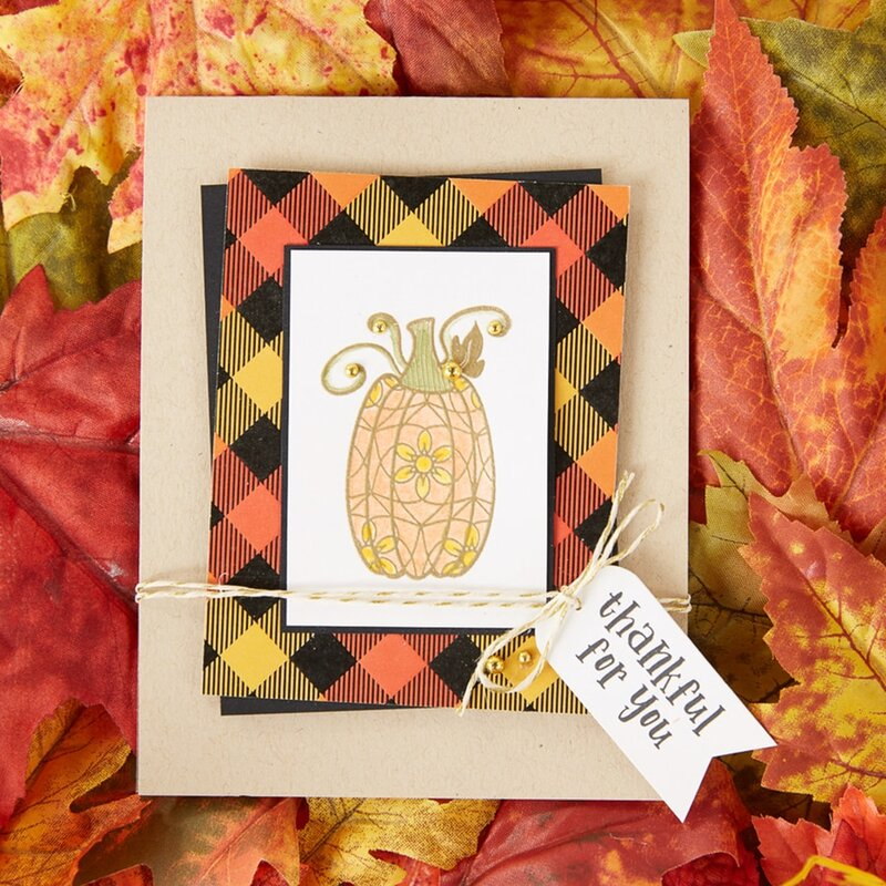 Thankful for You Fall Pumpkin Card