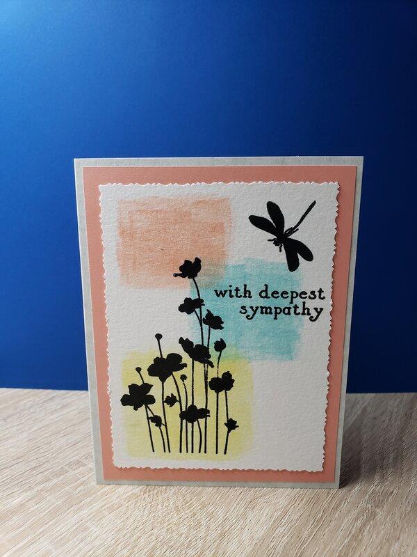 Coral & Dragonfly Watercolor Sympathy