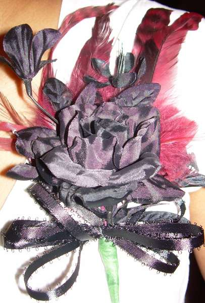 Black Feathered Corsage