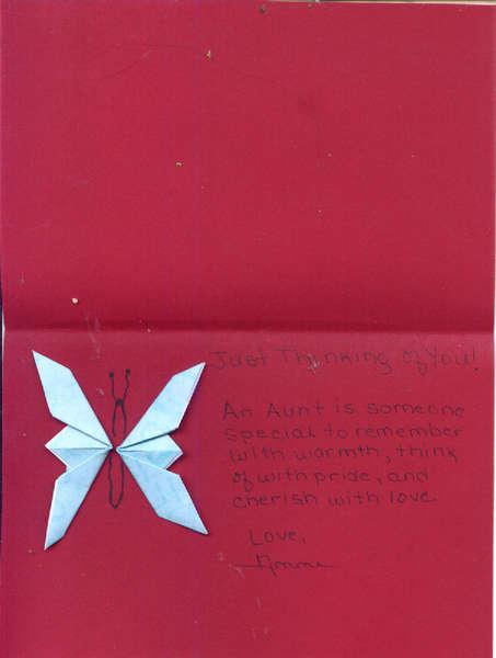 Inside Aunt Jen's Card