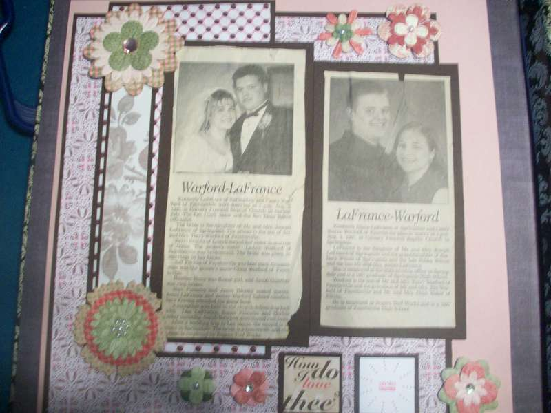 Newspaper clippings announcing their wedding