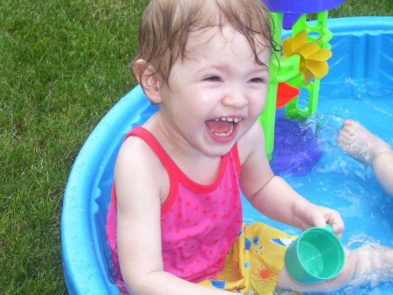 Bella in the pool at nana's