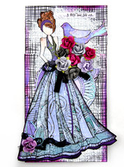 Doll Card - Flying Unicorns and FabScraps