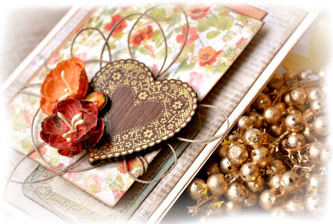 Wood Foil Heart Card - Prima