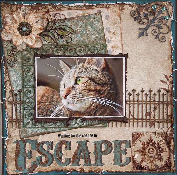 Escape Kitty  -Waiting For a Chance to Escape (Oct Swirlydoos kit)