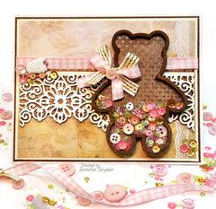 Teddy Bear Shaker Card - baby girl