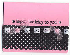 Pink polka dot card