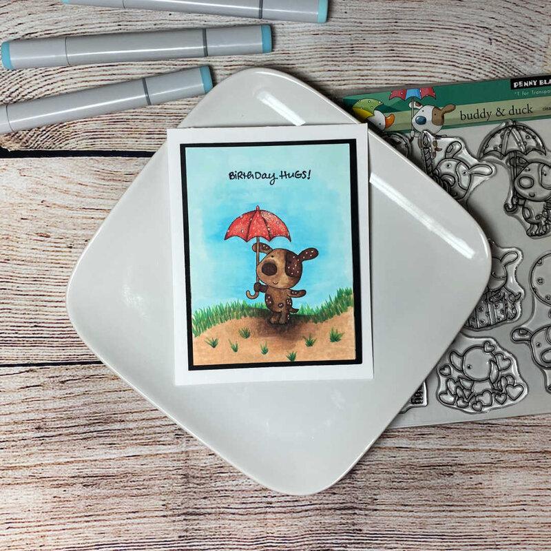 Kid Umbrella Bear Birthday Card