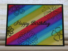 Happy Birthday Rainbow Flowers card