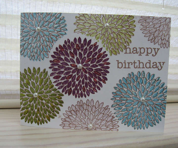 Birthday Stamped Blooms Card