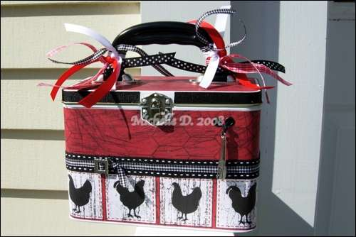 Rooster, Reminisce French Kitchen Silhouette Tin Recipe Card File, Front
