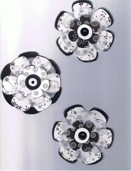 Stacked Flowers: Black & White