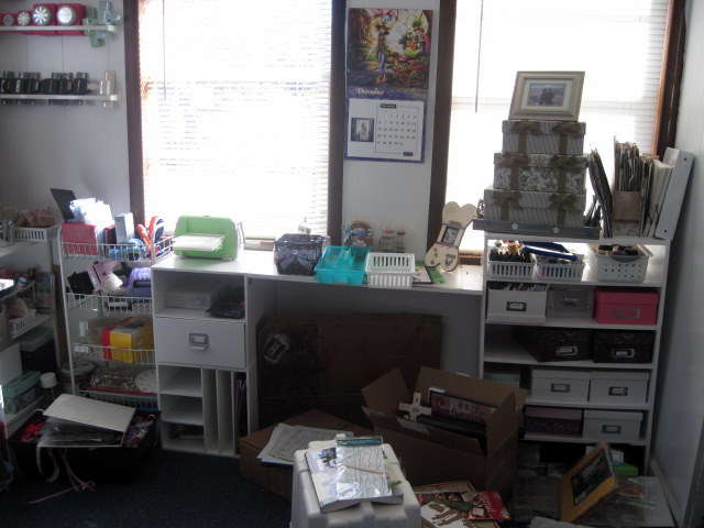 dd's desk, cuttle bug area, and storage- messy