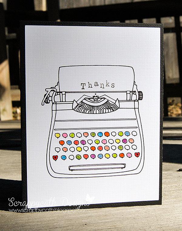 Sketch Typewriter Card White