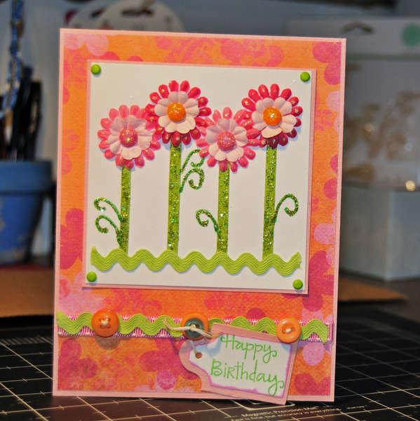 Pink & Orange Flower Birthday Card