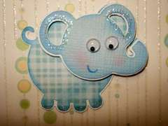 Elephant on card close up